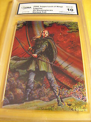 Legolas 2006 Topps Lord Of The Rings Masterpieces Etched Foil 6 Of 6 Graded 10