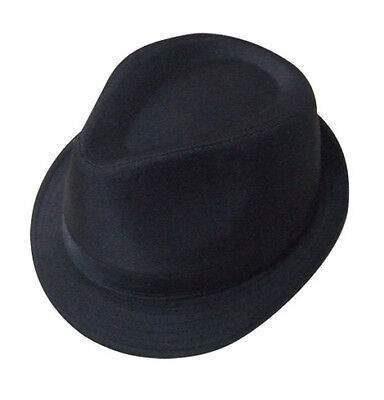Mens Black 100% Cotton Trilby Gangster Hat 5 Sizes Sent Boxed