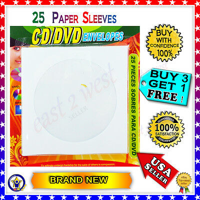 25 Pcs. White Paper Sleeves  Flap Clear Window Case for  CD/DVD  NEW Packed