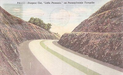 Deepest Cut, Little Panama, on Pennsylvania Turnpike - clear ridg Linen Postcard