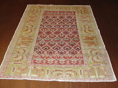 Striking antique Anatolian Turkish hand made Oriental Rug,c-1900, 4 x 5-5 muted
