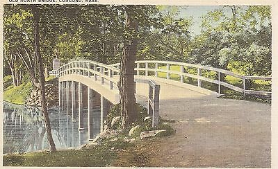 Old North Bridge, Concord, Mass  Linen Postcard