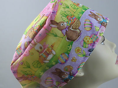 WOMENS SURGICAL_SCRUB HAT_Easter_bunnies_carrots_balloons_colored eggs_more