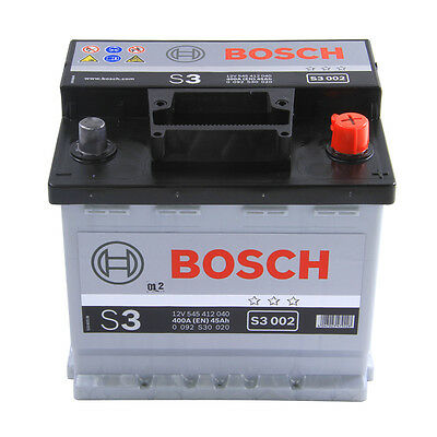 Bosch S3 Car Battery 12V 45Ah Type 012 400CCA 3 Years Wty Sealed OE Replacement