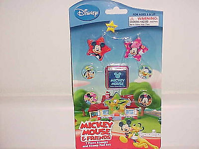 New Mickey Minnie Mouse Donald Duck Pluto Goofy 7 Pc Stamps & Stamp Pad Set