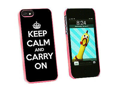 Keep Calm and Carry On Black - Hard Protective Case for Apple iPhone 5 - Pink