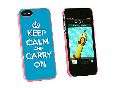 Keep Calm and Carry On Blue - Hard Protective Case for Apple iPhone 5 - Pink
