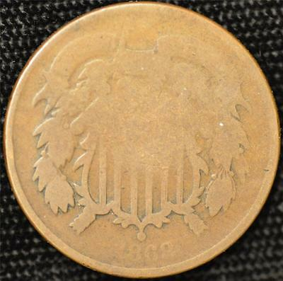 1868 Circulated Two Cent Piece #1, slightly scarcer than the 1864
