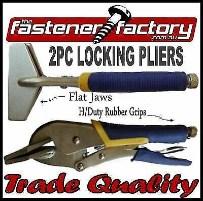 Flat Jaw Clamps 2Pc Rubberised Grip Welding Sheet Metal Locking Pliers Tools