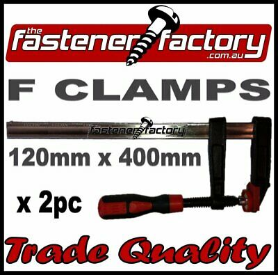 120mm x 400mm F CLAMPS (2pc) - QUICK ACTION F-CLAMP WOODWORK/METALWORK CLAMPS