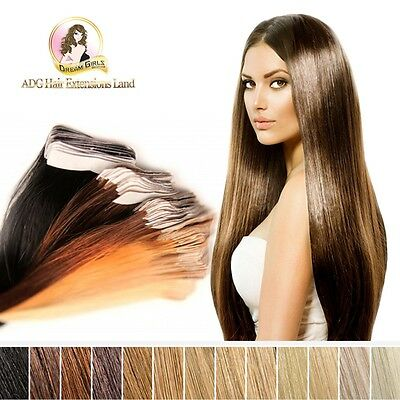 100% Real Indian Remy Tapein Skin Weft Hair Extension Black Brown Blonde 24""