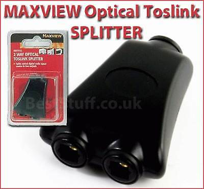 Maxview 2 Way Optical Toslink Splitter 4 Digital Audio