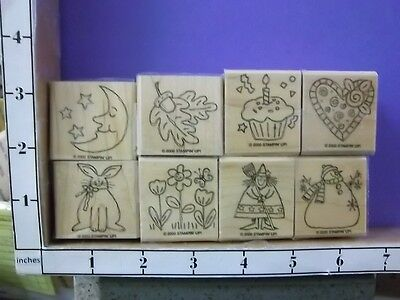 Set of 8 Seasonal Fall Snowman Rabbit Heart BD Cake Witch Moon rubber stamps 26R