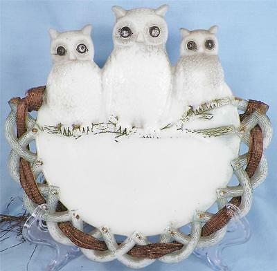 Antique 3 Owls Milk Glass Plate Plaque Basketweave Border EAPG Ribbon BEAUTY