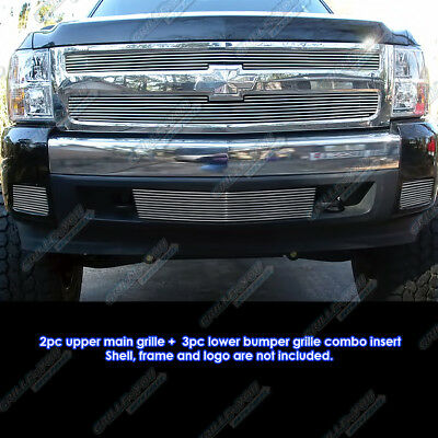 Fits 2007-2013 Chevy Silverado 1500 Billet Grille Grill Insert Combo