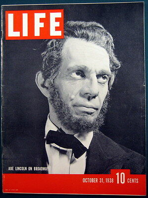 October 31 1938 Life Magazine Raymond Massey as Abe Lincoln Great Condition