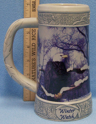 Miller Beer Mug Stein Bald Eagle Winter Watch 2000 Pottery Numbered 3rd in Serie