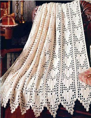 Crochet Pattern Baby Blanket Throw Lace Heart Afghan 295