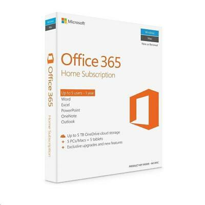 Microsoft Office 365 Home Word Excel PowerPoint Outlook Access 5 PC Mac 1 Year