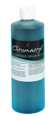 Chromacryl Waterproof Drawing Ink - Black 500ml