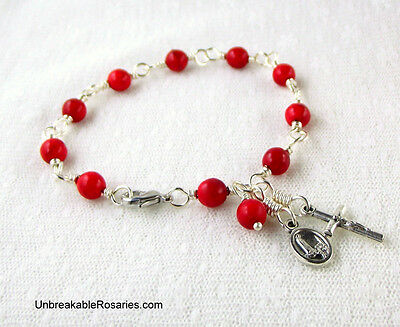 Rosary Bracelet Virgin of Fatima with Sacred Heart of Jesus in Red Howlite