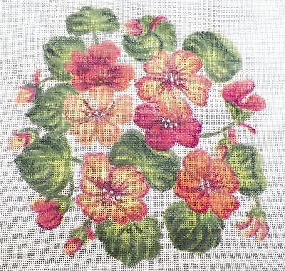 Hand Painted Red Orange Yellow Flowers Needlepoint Canvas Vintage Hungary PRETTY