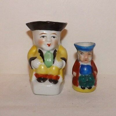 VINTAGE OCCUPIED JAPAN PORCELAIN SMALL MINIATURE TOBY~MAN CREAMERS (2) JUG MUGS