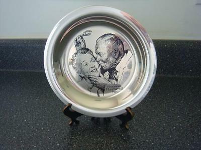 "Sterling Silver Norman Rockwell ""Under The Mistletoe"" Franklin Mint Plate 1971"