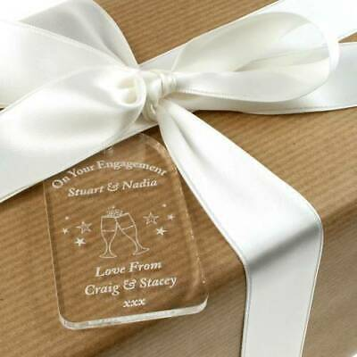 Personalised engagement gift tag, engraved engagement bottle tag