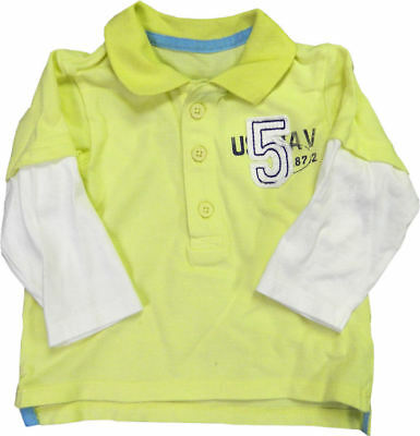 Kids Polo Long Sleeve T Shirts Tops Boys/Girls Yellow/White with Logo 0-6 Month