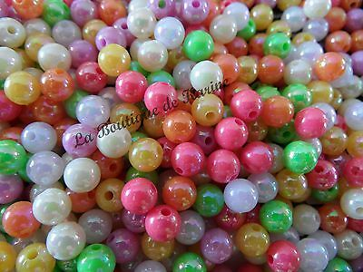 LOT DE 100 PERLES NACREES ACRYLIQUES MULTICOLORES Ø 6 mm - CREATION BIJOUX