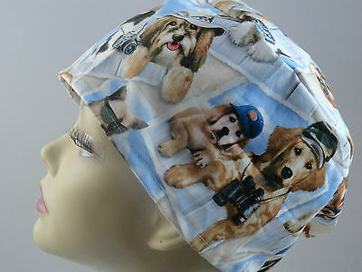 WOMENS SURGICAL_SCRUB HAT_dogs_hats_postcards_blue_many different_cute