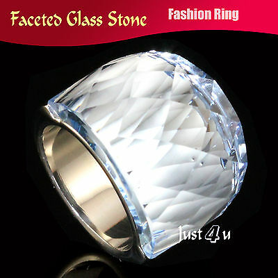 Huge Sparkling Light Blue Faceted Glass Stone Stainless Steel Fashion Chic Ring