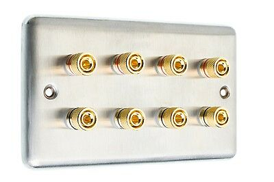 4.0 Audio AV Speaker Wall Face Plate Stainless Steel 8 Binding Posts