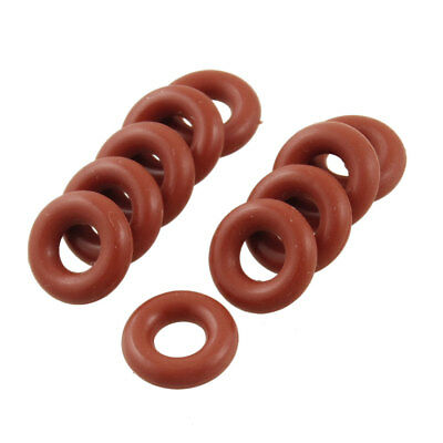 10 Pcs Brick Red Silicone O Ring Seal Gaskets 5mm x 11mm x 3mm