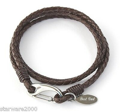 Mens Personalised Leather Wrap Bracelet, Free Engraving & Gift Box Included