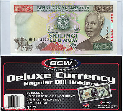 """10 Sleeves CURRENCY protective NOTE BILL holders Acid Free Semi Rigid 6½"""" x 3"""""""