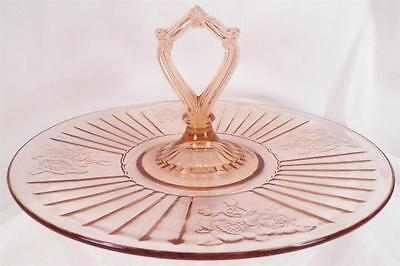 Mayfair Center Handle Plate Pink Depression Glass Open Rose Sandwich Server Tray