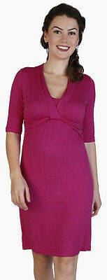 New Japanese Weekend Maternity and Nursing Pink Twist Front Shift Dress L 12 14
