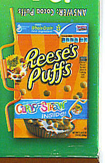1 NEW CURVY STRAW REESES PUFFS CEREAL General Mills GM promo toy