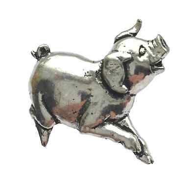 Piglet Sty Farming Happy Smiling Pig Pewter Pin Brooch British Hand Crafted