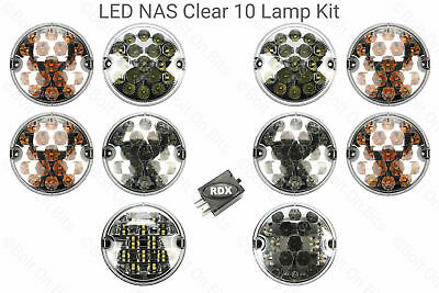 10 RDX LUX LED CLEAR NAS Lights CONVERSION UPGRADE kit Relay Defender