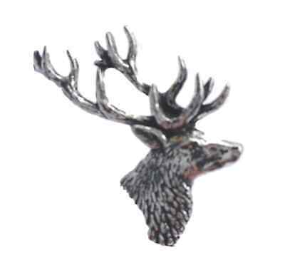 STAGS HEAD Hand Made in UK Pewter Lapel Pin Badge