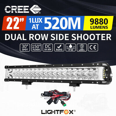 LightFox 22inch Side Shooter LED Light Bar Spot Flood CREE Driving Offroad 4x4