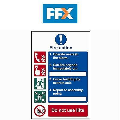 Scan SCA0175 Fire Action Procedure Sign - PVC 200mm x 300mm