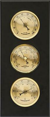 Weather Station Barometer Thermometer Hygrometer MDF Wood Case Wall Mounting New