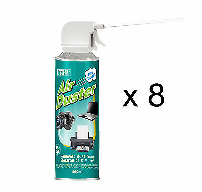 8 x 400ml Compressed Air Duster Cleaner Spray Can Canned Laptop Keyboard Mouse