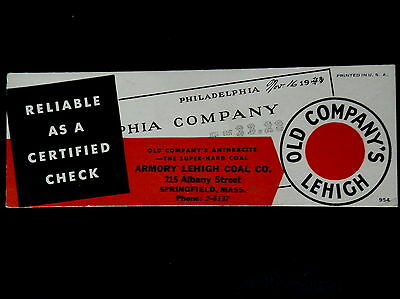 Advertising Blotter ARMORY LEHIGH COAL Co Springfield Mass  Phone 2-5137