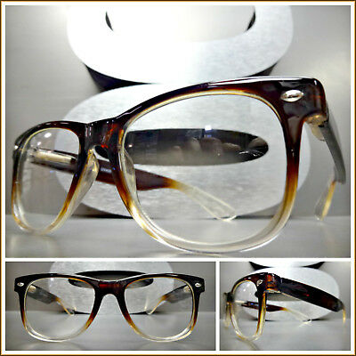 VINTAGE RETRO Style CLEAR LENS EYE GLASSES Small Brown Transparent Fashion Frame