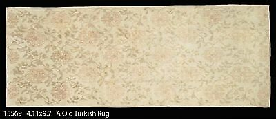 Great Antique Turkish Ushak hand made Oriental Rug, muted ivory colors, 4-11x9-7